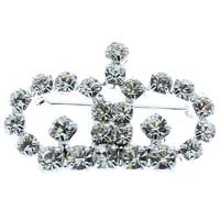 Rhinestone Crown with Crystal Brooch