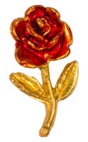 Red Rose Lapel Pin Gold Plated