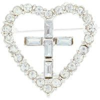 Rhinestone Heart Christian Cross Pin