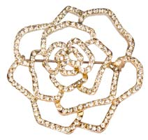 Large Rhinestone Rose Lapel Pin