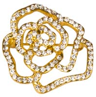 Rhinestone Small Rose Flower  Pin Gold