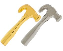 Building Hammer Lapel Pin Gold or Silver