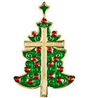 Christmas Tree Pin with Cross & Star