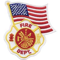 Fire department logo and Americian Flag
