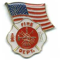 Fire Dept Shield  With American Flag Pin
