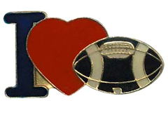 I Love Football Lapel Pin