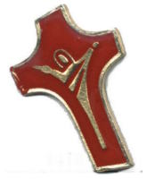 Gold and Red Cross Pin - Crucifix Pin