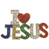 I Love Jesus Sparkling Pin Multi Colors