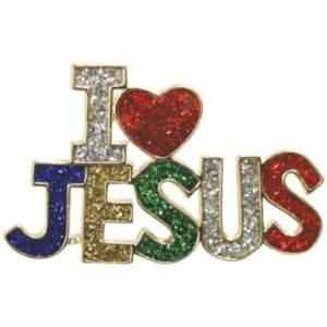 I Love Jesus Sparkling Pin Multi Colors