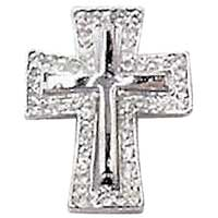 Silver Rhinestone Cross on Cross Brooch