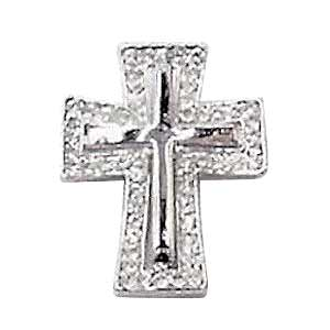 Cross on Cross Crystal Brooch