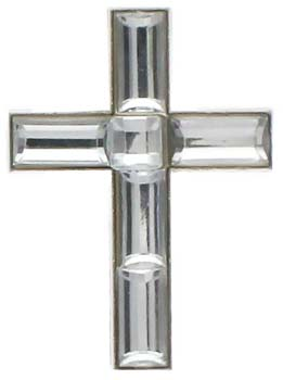 Crystal Cross Lapel Pins Silver