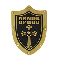 Armor of God Shield Pin Gold