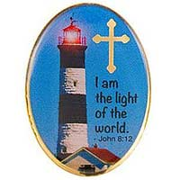 gold lighthouse pin