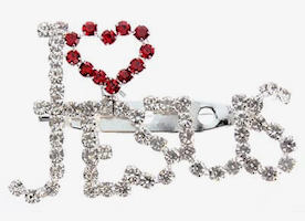 I Love Jesus Rhinestone Pin