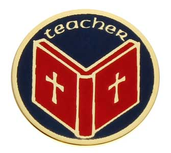 Teacher Bible Recognition Round Pin