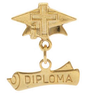 Cross and Diploma Pin Gold