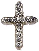 Cross Rhinestone Lapel Pin Silver