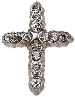 Cross Rhinestone Lapel Pin Silver