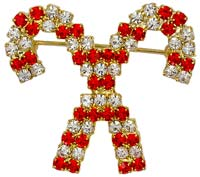 Rhinestone Crossed Candy Canes Pin