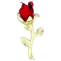Red Rosebud Pin 18kt Gold Finish