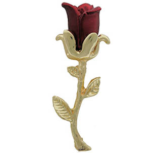 Red Rosebud Pin 18KT Gold Finish