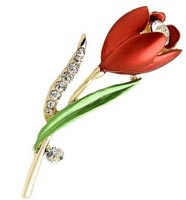 18k Gold Plated Red Flower Brooch with Crystal Accents