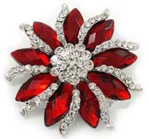 Rhinestone Crystal Silver Diamante, Red Marquise Stone Flower Brooch