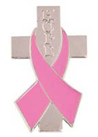 Breast Cancer Hope Cross Pin with Ribbon