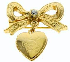 Gold Heart Picture Locket Pin