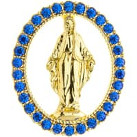 Miraculous Medal Lapel Pin With Crystals