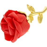 Rose Brooch Gold Metal Red Soft Flower