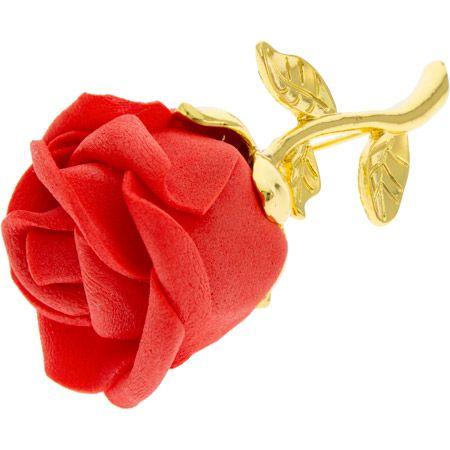 Rose Brooch Gold Metal Red Soft Flower