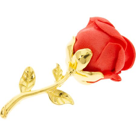 Red Rose Pin Brooch  Gold