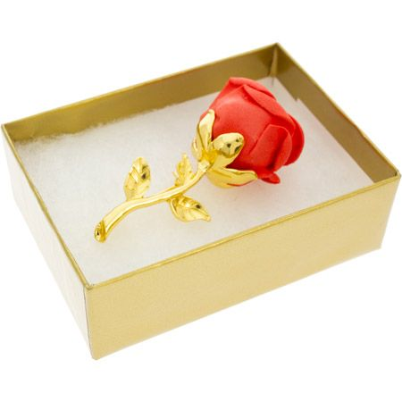 Red Rose Brooch Pin - Boxed