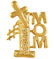 #1 Mom Pin with Cross Gold - Mother's Day
