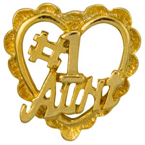 #1 Aunt Heart Pin Gold
