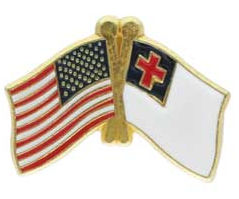 USA American & Christian Flags Pin Crossed