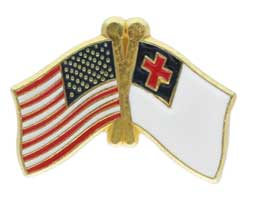 American & Christian Flags Lapel Pin