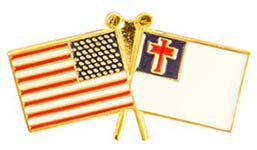 American & Christian Flags Pin