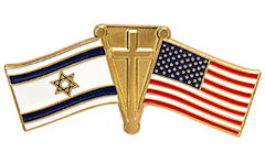 American, Israel Flag and Cross Pin