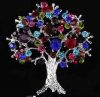 Tree of Life Rhinestone Brooch Silver or Gold