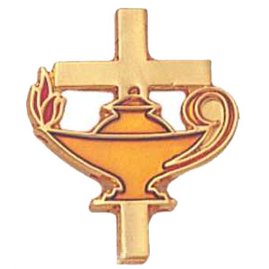Cross and Flame Lamp Education Pin