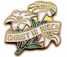 Christ is Risen Lily Lapel Pin Gold