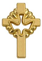 gold communion pin croos and dove gold