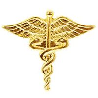 Caduceus Medical Lapel Pin Gold