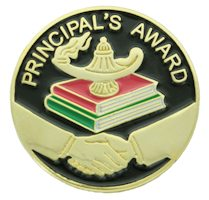 principals award lapel pins gold