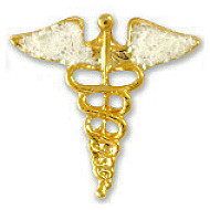 Caduceus Medical Lapel Pin With Sparkling Wings