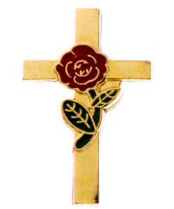 Cross with Red Rose Pin Gold