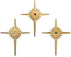Gold Christmas Bethlehem Cross Pins - CZ Stone